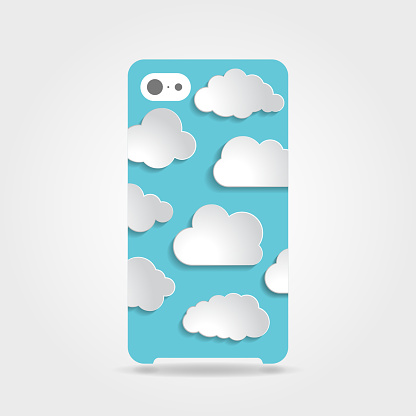 Cute blue clouds collection illustration on a phone case back