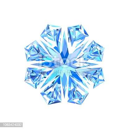 Cute blue bright ice snowflake. Festive decorations for Christmas and New Year. Eps 10 vector.