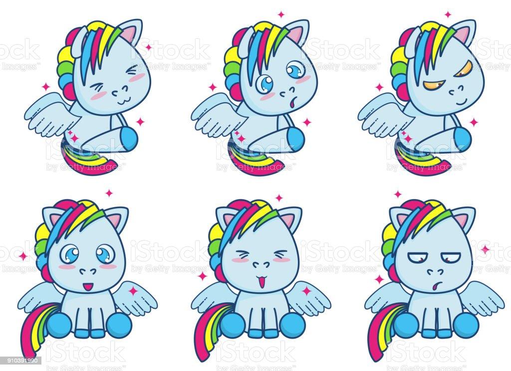 Ilustración de Lindo Azul Pequeño Pony Con Alas Ilustración Vector ...