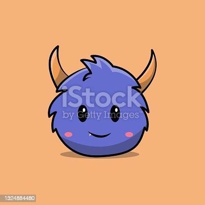 istock cute blue monster mascot character. 1324884480