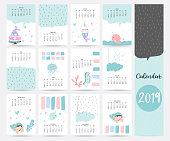 Cute blue monthly calendar 2019 with caticorn,mermaid,cake,coral,sea horse.Can be used for web,banner,poster,label and printable