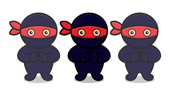 cute blue ninja mascot character make clone