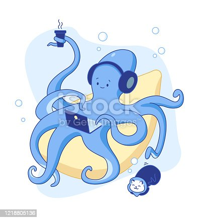 Cute blue octopus works at home. Work from home. Stay at home