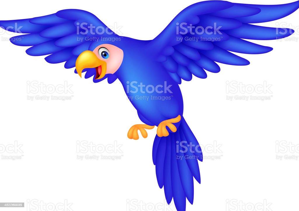 Cute blue parrot cartoon royalty-free stock vector art