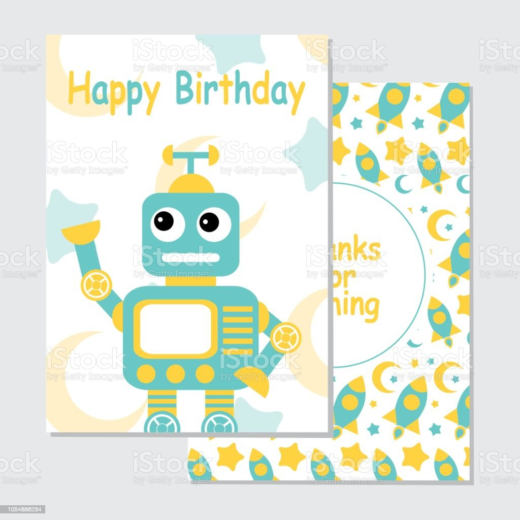 Cute Blue Robot On Rocket Background Suitable For Birthday