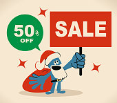 Merry Christmas Cartoon Design, Blue Little Guy Characters Vector art illustration.Copy Space. Cute blue Santa Claus holding Sale Sign.