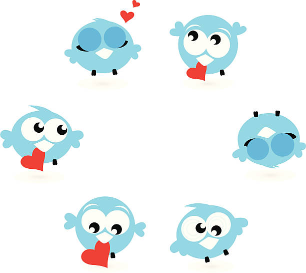 cute blue twitter birds with red hearts isolated on white - twitter 幅插畫檔、美工圖案、卡通及圖標