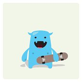 Cute Blue Vector Character Happy with a Skateboard