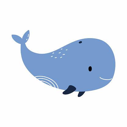 Cute blue whale indoodle style. Vector illustration for baby. Childish book. Element for printin