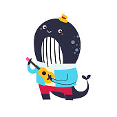 istock A cute blue whale playing ukulele cartoon character for children scrapbook decorating isolated flat vector illustration. Hello summertime. Happy vacation on the beach. 1325623796