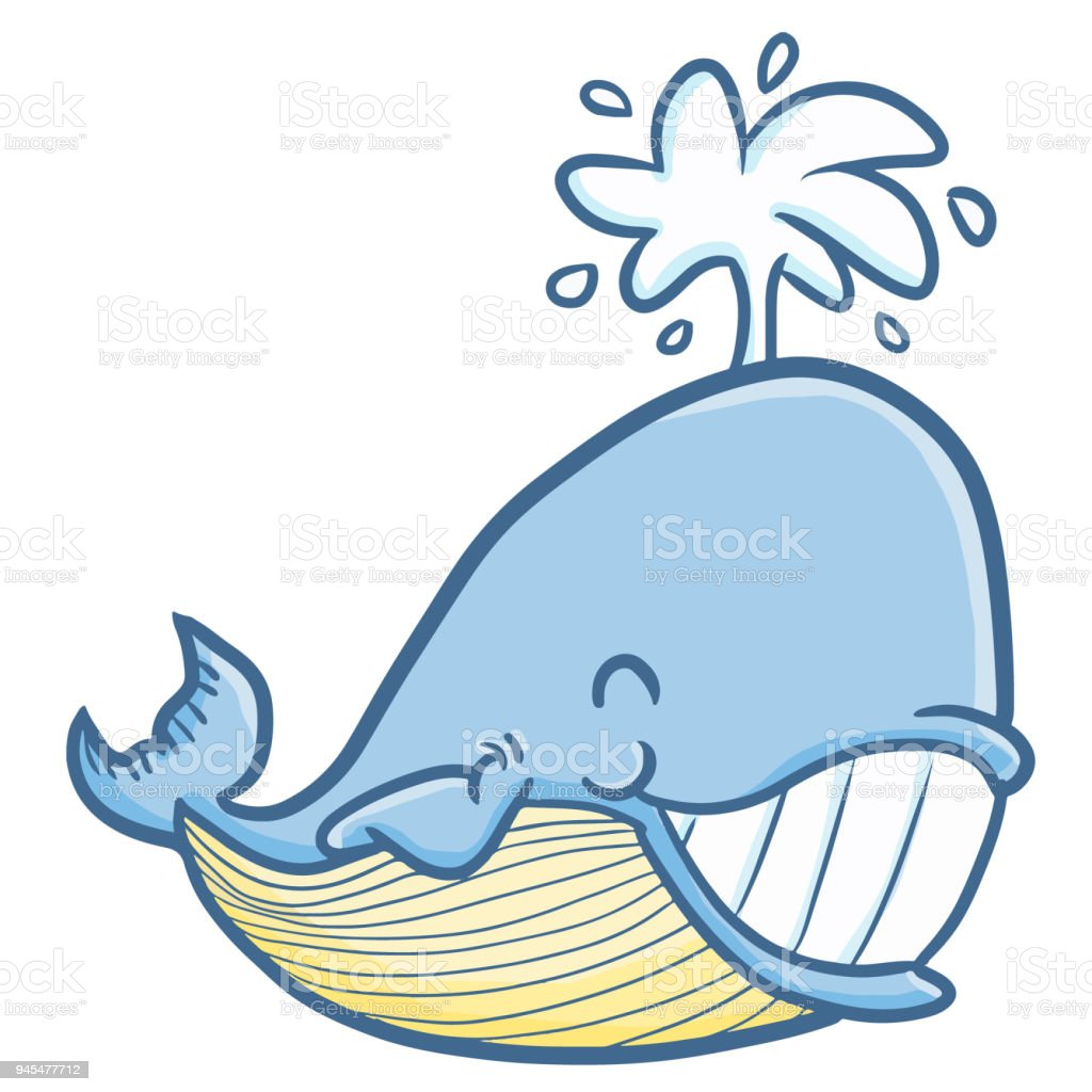 Cute Blue Whale Smiling Happily Stock Vector Art & More Images of ...