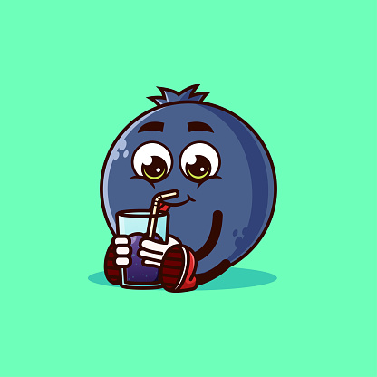 Cute Blueberry fruit character sitting with Blueberry juice