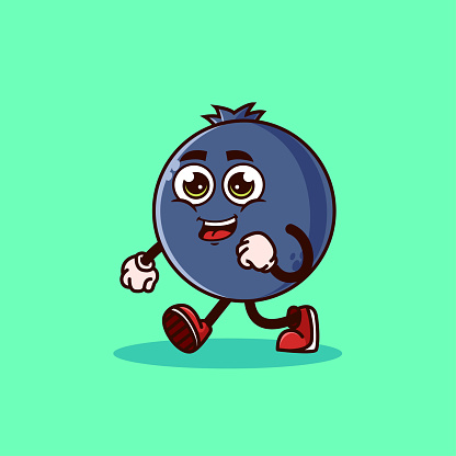Cute Blueberry fruit character walking with happy face.