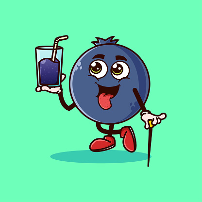Cute Blueberry fruit character with Blueberry juice on hand