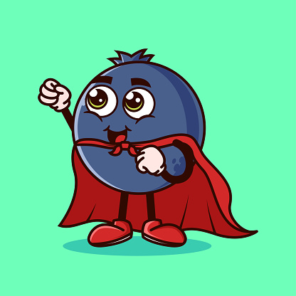 Cute Blueberry fruit character with Super hero costume and try to fly