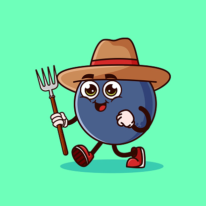 Cute Blueberry fruit Farmer character with pitchfork. Fruit character icon concept isolated. flat cartoon style Premium Vector