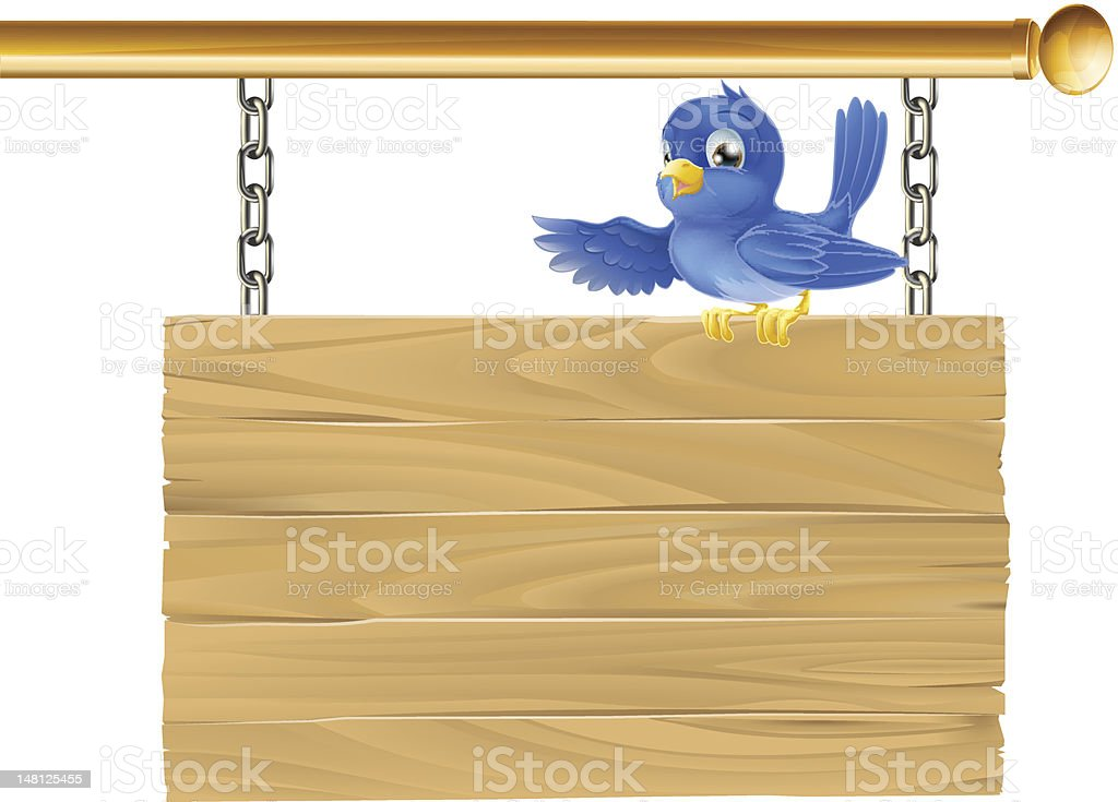 Cute bluebird hanging sign royalty-free stock vector art