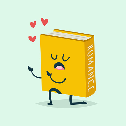 Cute Book vector cartoon character in love and heart around isolated on background.