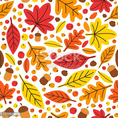 Cute eye catching bright botanical Autumn Leaves seamless background in traditional colors can be used for shopping sale or promo poster and frame leaflet or web banner