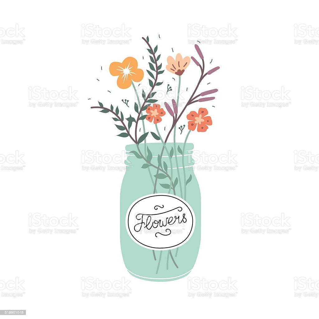 Cute bouquet of flowers in a glass jar stock vector art more cute bouquet of flowers in a glass jar royalty free cute bouquet of flowers in izmirmasajfo