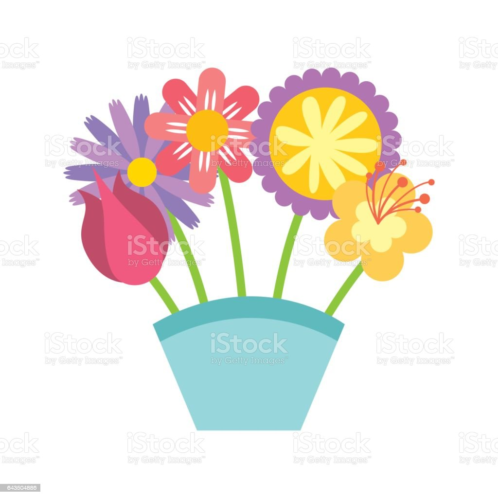 Cute Bouquet Of Flowers Nature Icon Stock Vector Art & More Images ...