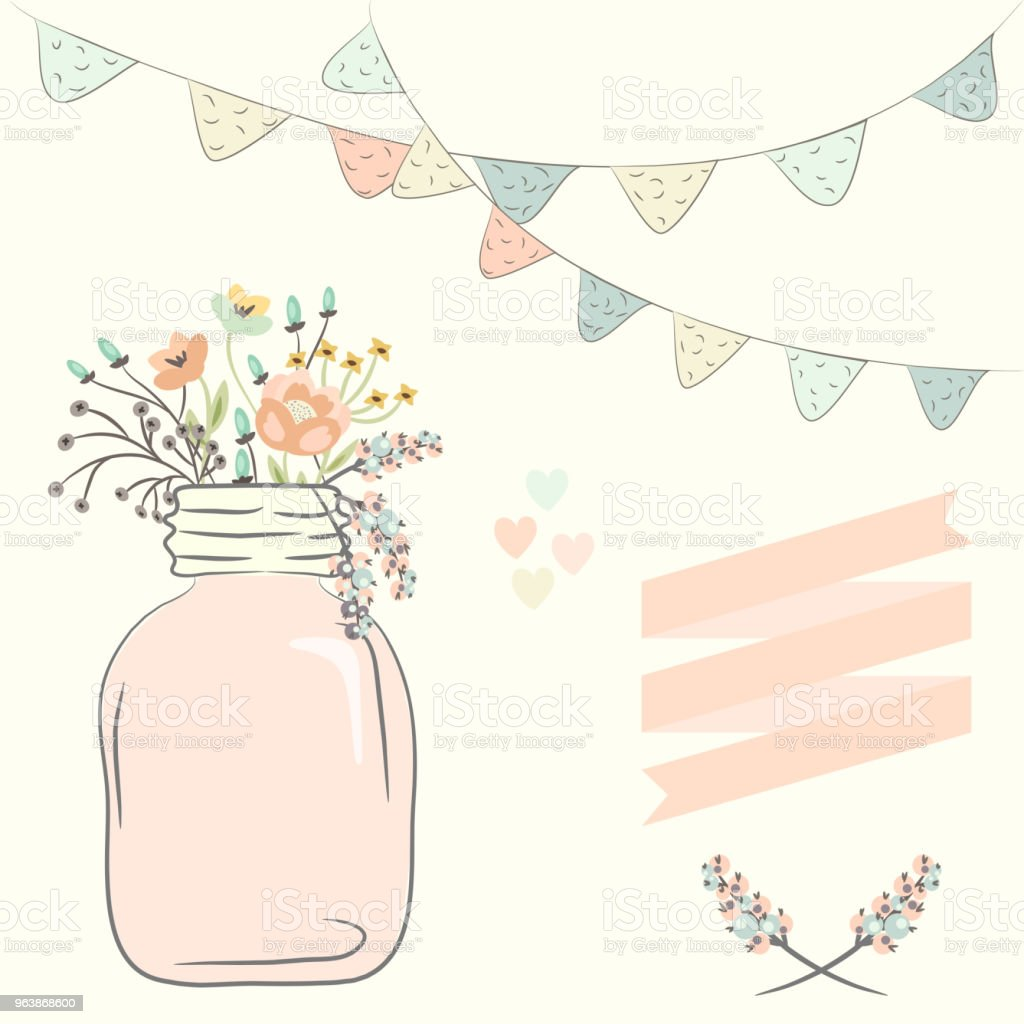 Cute bouquet of wedding flowers in a glass jar. Vector illustration - Royalty-free Blossom stock vector