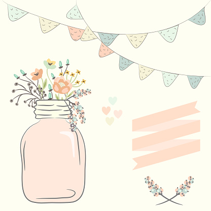 Cute Bouquet Of Wedding Flowers In A Glass Jar Vector Illustration Stock Illustration - Download Image Now