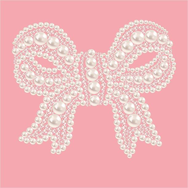 niedlich schleife mit perlen und diamanten. - hochzeitsanstecker stock-grafiken, -clipart, -cartoons und -symbole