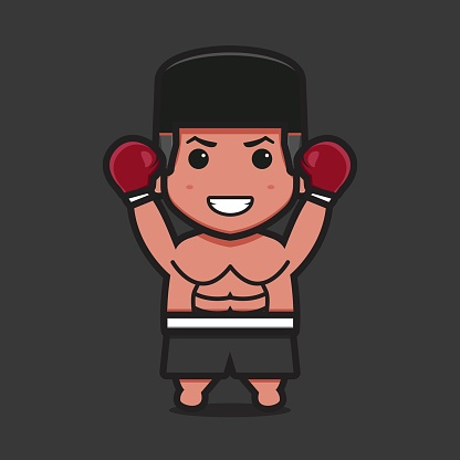 Cute boxer character with winner pose cartoon vector icon illustration.
