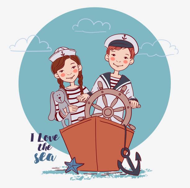 illustrations, cliparts, dessins animés et icônes de joli garçon et fille habillé comme un capitaine et les marins s'amuser. enfants heureux a joué sur le navire. notion de vecteur voyage - nuage 6