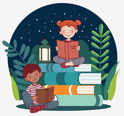 Cute boy and girl reading books in the garden. Nature landscape background. Summer holidays illustration. Vacation time