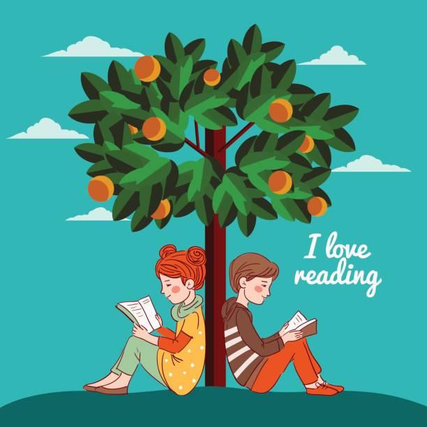 stockillustraties, clipart, cartoons en iconen met leuke jongen en meisje het lezen van boeken onder de oranje boom - mini amusementpark