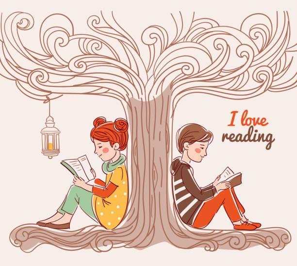 süße junge und mädchen lesen bücher unter dem baum - reiseliteratur stock-grafiken, -clipart, -cartoons und -symbole