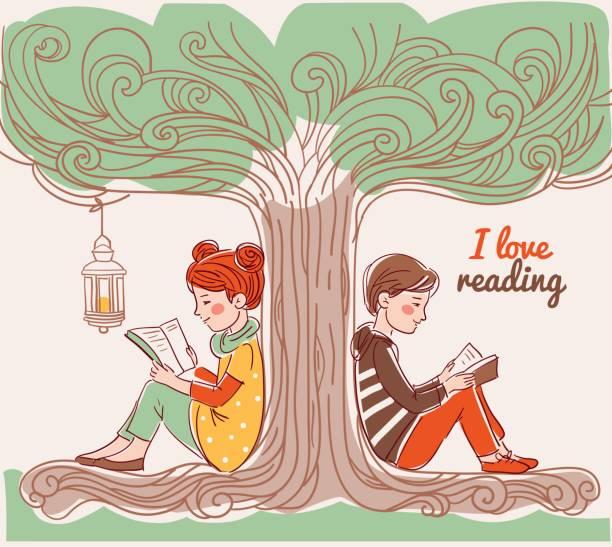 stockillustraties, clipart, cartoons en iconen met leuke jongen en meisje het lezen van boeken onder de boom - mini amusementpark