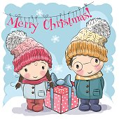 Greeting Christmas card Cute Boy and Girl in hats and coats
