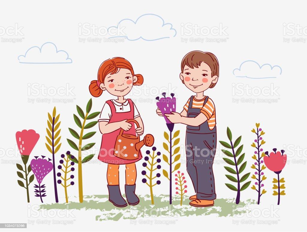 Cute boy and girl watering flowers in summer garden. Outdoor activities on vacation vector art illustration