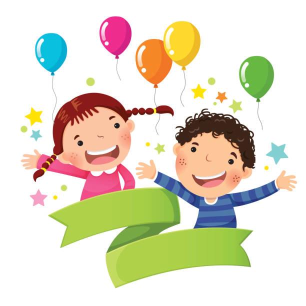 stockillustraties, clipart, cartoons en iconen met leuke jongen en meisje met ballon en lege lint - kinderdag