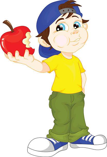 Resultado de imagem para ilustração crianças comendo maçã