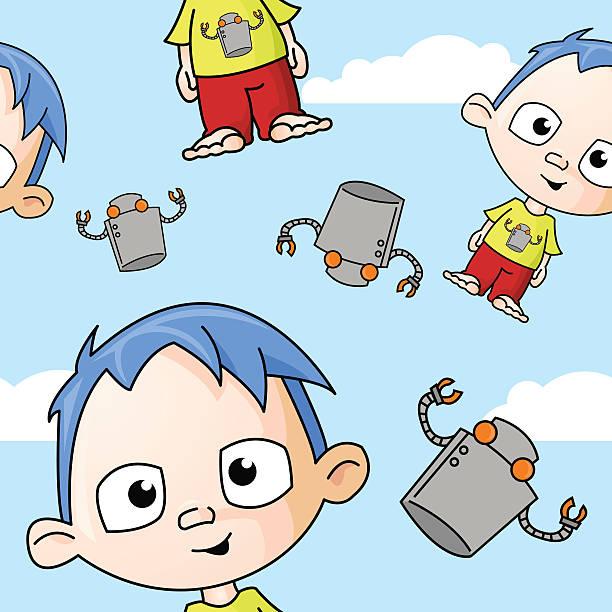 Cute Boy and Robot Seamless Pattern vector art illustration