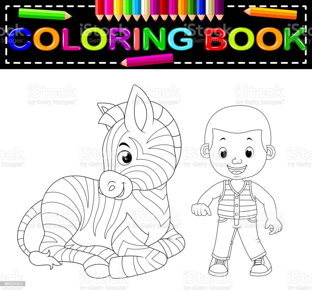 Cute Boy And Zebra Coloring Book Stock Vector Art & More Images of ...