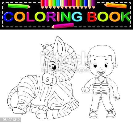 Ilustración de Chico Lindo Y Cebra Para Colorear Libro y más banco ...