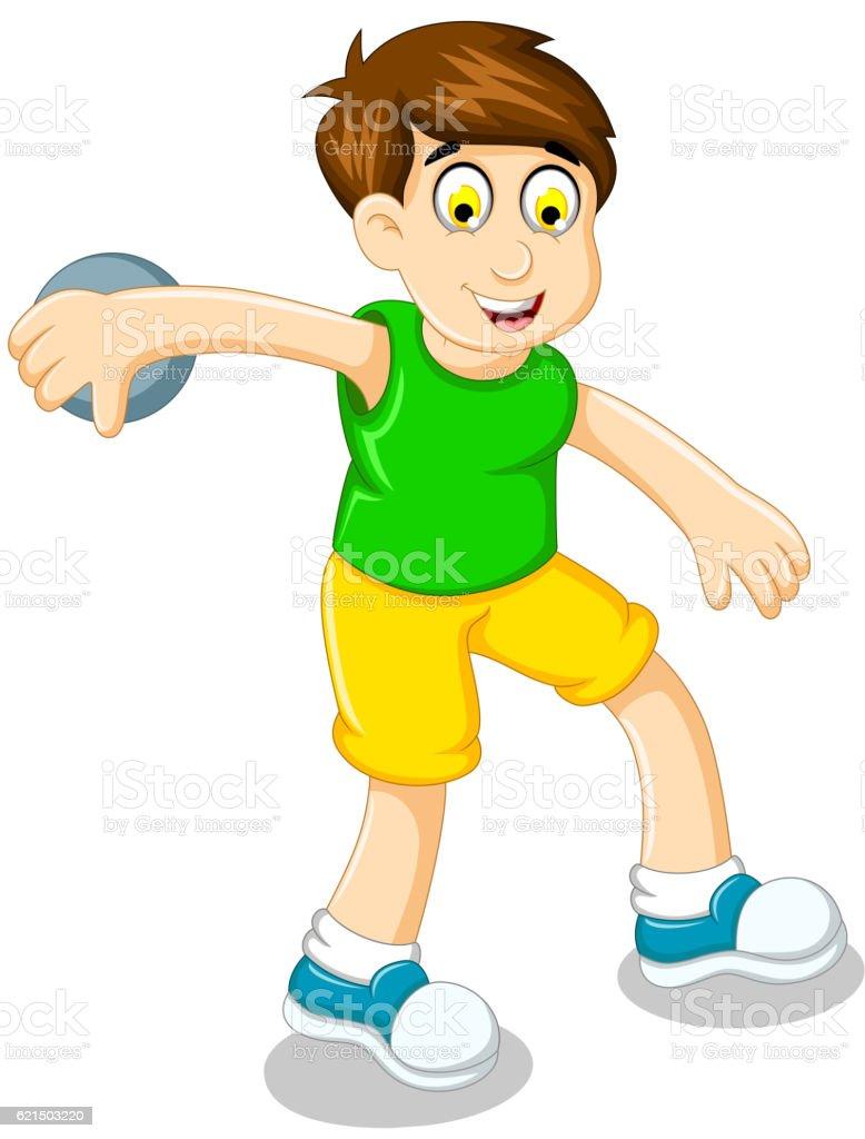 cute boy athlete doing discus throwing Lizenzfreies cute boy athlete doing discus throwing stock vektor art und mehr bilder von aktivitäten und sport
