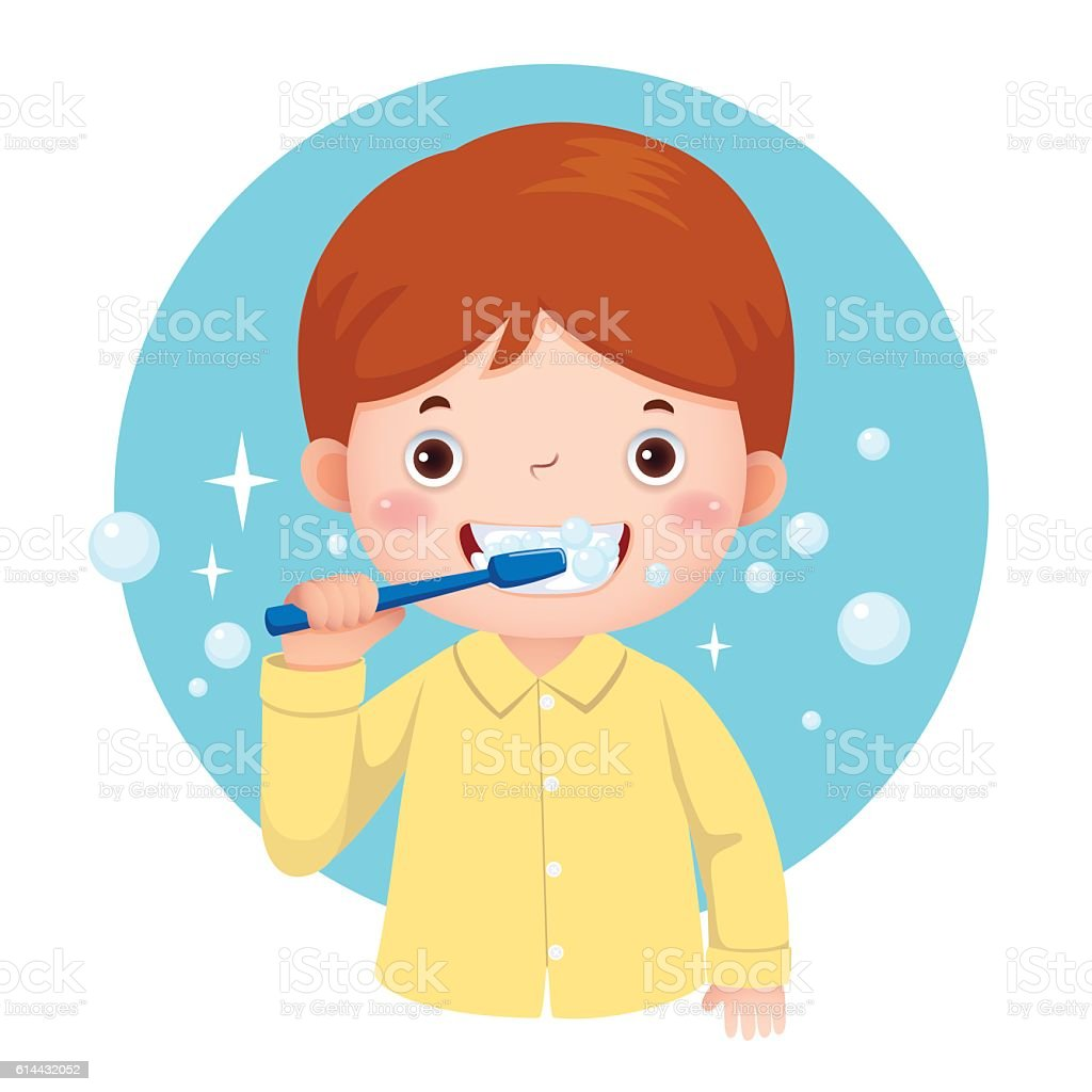 royalty free brushing teeth clip art vector images illustrations rh istockphoto com tooth brushing clipart brushing your teeth clipart