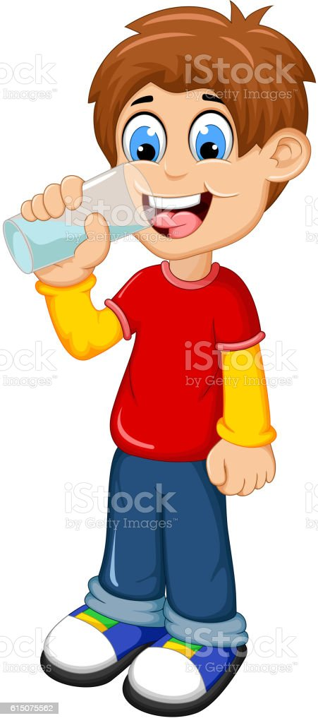 cute boy cartoon drinking water vector art illustration