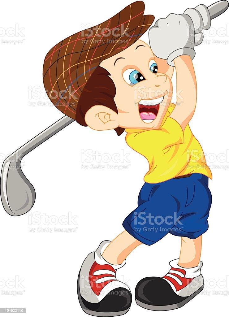 Cute boy cartoon golf player stock vector art more