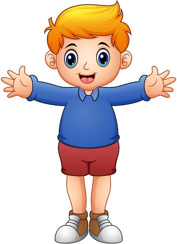 Cute boy cartoon in blue shirts