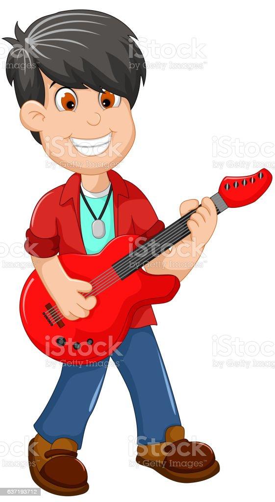 cute boy cartoon playing guitar vector art illustration
