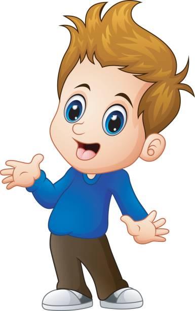 Best Cartoon Of The Cute Boy Brown Hair Eyes Illustrations ...