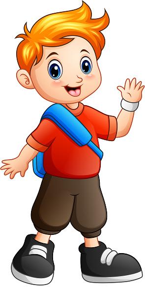 Cute Boy Cartoon Waving Hand Stock Illustration - Download ...