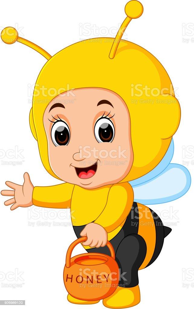 Arı Kostümü Giyen Sevimli çocuk çizgi Film Stok Vektör Sanatı